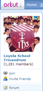 Loyola School Trivandrum community at Orkut